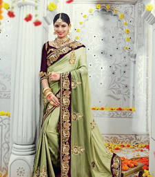 Buy Green embroidered satin saree with blouse heavy-work-saree online