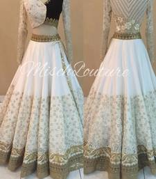 Buy White embroidered net unstitched lehenga lehenga-choli online
