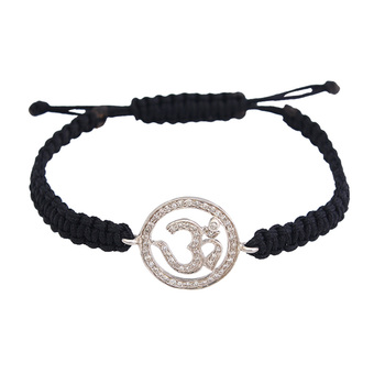 Om 925 Silver Bracelet with 0.38 Carat Dimonds on adjustable nylon thread