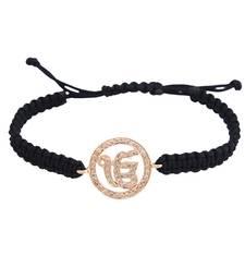 Buy Ik Onkar 14k Gold studded with Diamonds on adjustable nylon thread gemstone-bracelet online