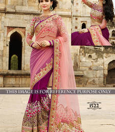 Buy Magenta embroidered georgette saree with blouse bridal-saree online