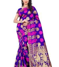 Buy purple printed banarasi silk saree with blouse banarasi-saree online