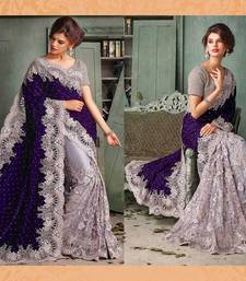 Buy purple and  grey embroidered georgette saree with blouse party-wear-saree online