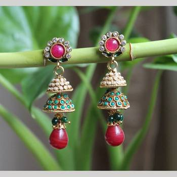 Flower Earrings with Double Jhumkis