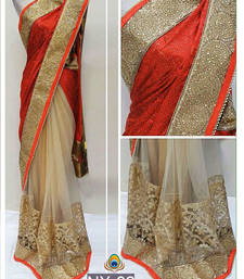 Buy Red embroidered lycra saree with blouse party-wear-saree online