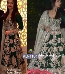 Buy Dark green embroidered art silk unstitched salwar with dupatta bollywood-salwar-kameez-online online