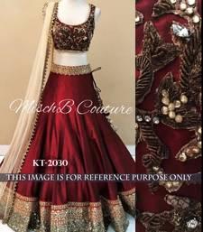 Buy Maroon embroidered silk unstitched lehenga bridal-lehenga online