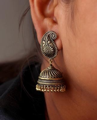 Gold Tone Oxidised Office wear Jaipuri Traditio0l Jhumka Earrings