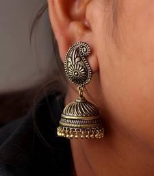 Buy Gold Tone Oxidised Office wear Jaipuri Traditio0l Jhumka Earrings danglers-drop online