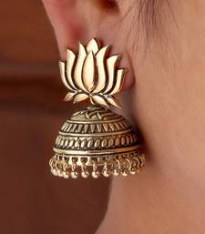 Buy Gold Tone Lotus Design Stud Jhumki Earrings for Party Function hot-deal online