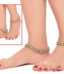 Buy Gold Finishing White Stone Drop Patwa Payal anklet online