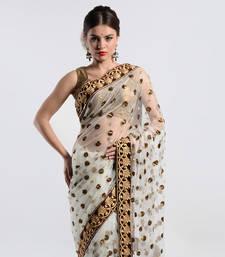 Buy White net with sequins work saree  kareena-kapoor-saree online