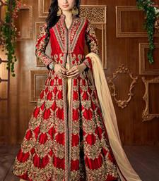 Buy Dark red embroidered art silk semi stitched salwar with dupatta party-wear-salwar-kameez online