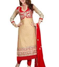 Buy Beige embroidered cotton poly unstitched salwar with dupatta ready-to-ship-salwar-kameez online