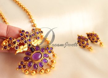 AWESOME ROYAL PURPLE PEACOCK DESIGNER NECKLACE SET-DJ00036