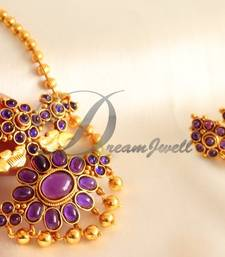Buy AWESOME ROYAL PURPLE PEACOCK DESIGNER NECKLACE SET-DJ00036 necklace-set online