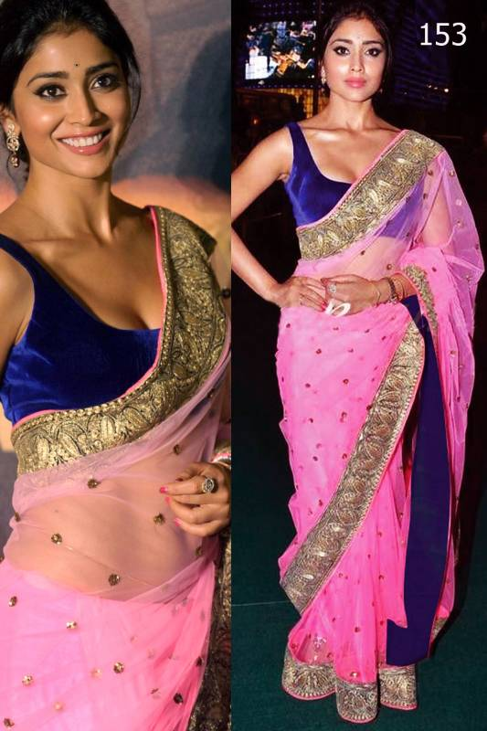 Buy Shriya Saran Baby Pink Net Saree At Iifa 2012 Online