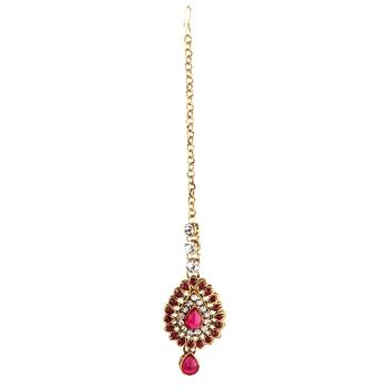 Pink Austrian Stone Exclusive Design Gold Finish Maang Tikka