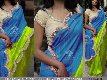 Multi color and multi fabric designer saree