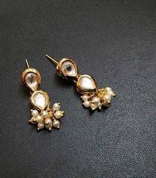 Buy Kundan Pearl embellished earrings stud online