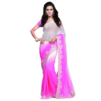 Light Pink Embroidered Chiffon saree with blouse