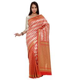 Buy Red zari art silk saree with blouse banarasi-saree online