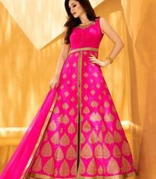 Buy pink embroidered silk semi stitched salwar with dupatta semi-stitched-salwar-suit online