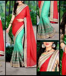 Buy Red embroidered georgette saree with blouse hand-woven-saree online
