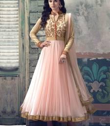 Buy Pink embroidered net unstitched salwar with dupatta anarkali-salwar-kameez online