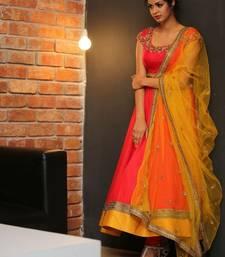 Buy Orange embroidered Georgette Semi stitched Anarkali Suit anarkali-salwar-kameez online