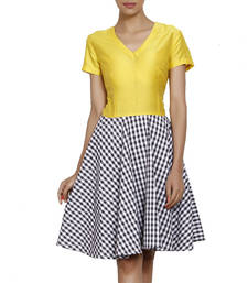 Buy Women's Designer Yellow Bodice And Checkered Shirt Dress ganpati-dres online