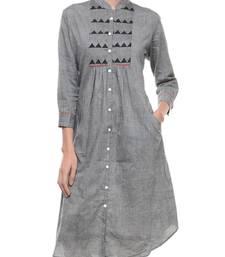 Buy Women's Designer Grey Mangalgiri Tunic With Yoke tunic online