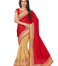 Buy red and beige embroidered georgette saree with blouse georgette-saree online
