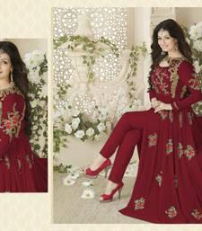Buy Red embroidery georgette semi stitched salwar with dupatta pakistani-salwar-kameez online