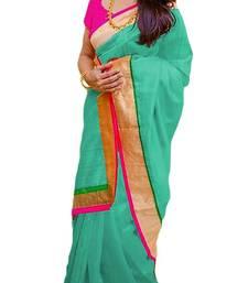 Buy rama green plain chanderi saree with blouse chanderi-saree online