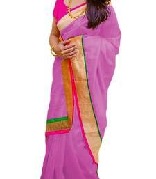 Buy pink plain chanderi saree with blouse chanderi-saree online