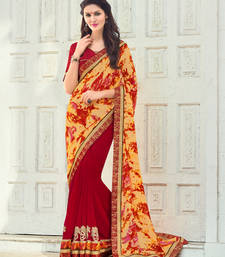 Buy yellow and red embroidred satin georgette saree with blouse heavy-work-saree online