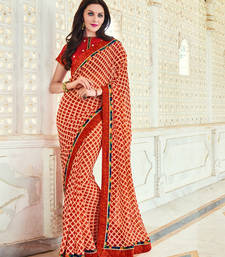 Buy red embroidred georgette saree with blouse heavy-work-saree online