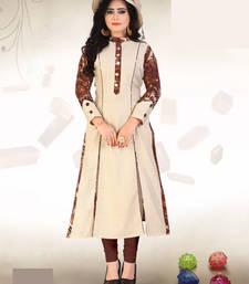 Buy Cream embroidred Rayon Print kurtas-and-kurtis kurtas-and-kurti online