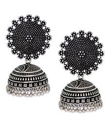 Buy Black Metal Oxidised Silver Plated Jhumka Jhumki Earrings For Women & Girls jhumka online