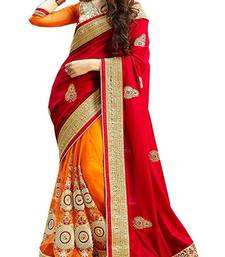 Buy Red embroidered georgette saree with plain Golden blouse half-saree online