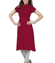 Buy Maroon plain rayon long-kurtis long-kurti online