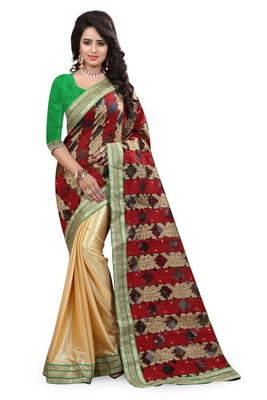 Multicolor printed tissue saree with blouse