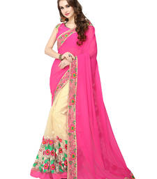 Buy Pink embroidered faux georgette saree with blouse georgette-saree online