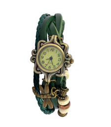 Buy Fly Like A Dragon FlyGreen Colour Faux Leather Beadwork Hipster Watch watch online