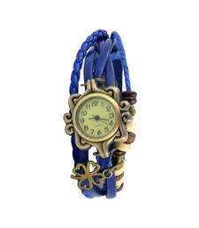 Buy Life Is A Flower So Precious In Your Hand Blue ColourFaux Leather Beadwork Hipster Watch watch online