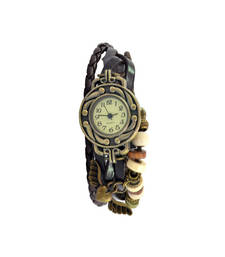 Buy Heart With Wings Brown Colour Faux Leather Beadwork Hipster Watch watch online