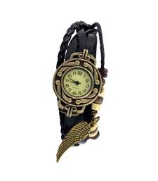 Buy Free Like A BirdBlack Colour  Faux Leather Beadwork Hipster Watch watch online