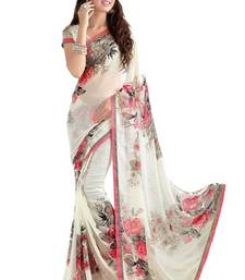 Buy White printed georgette saree with blouse georgette-saree online