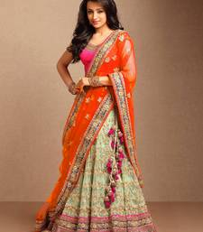 Buy Cream embroidered net unstitched lehenga black-friday-deal-sale online